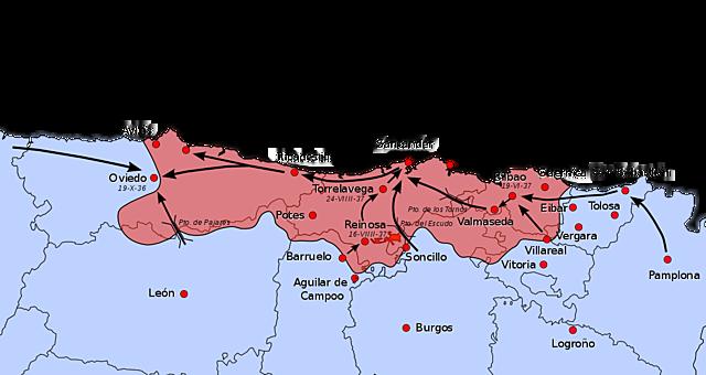 Guerra en el norte ocupación por los sublevados de todo el cantábrico.