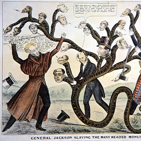Andrew Jackson vetoes the Bank Recharter Bill.