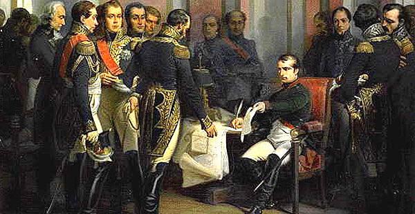 Tratado de Fontainebleau para el reparto de Portugal entre España y Francia.