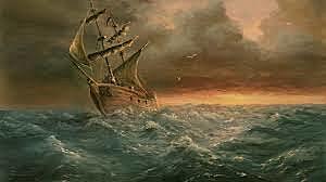 Ship sailed into a storm