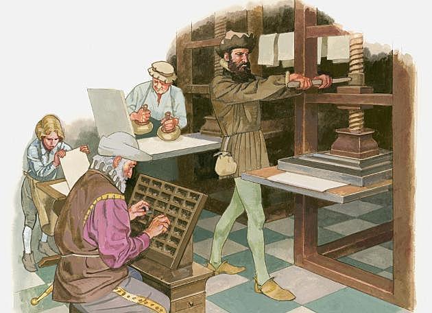 La invención de la imprenta de Gutenberg.