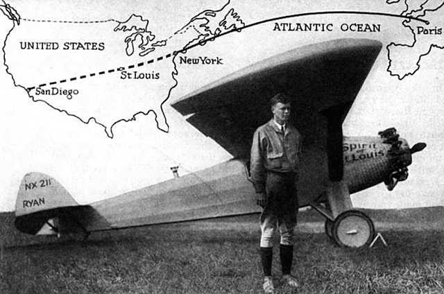 Charles Lindberg completes solo flight across the Atlantic