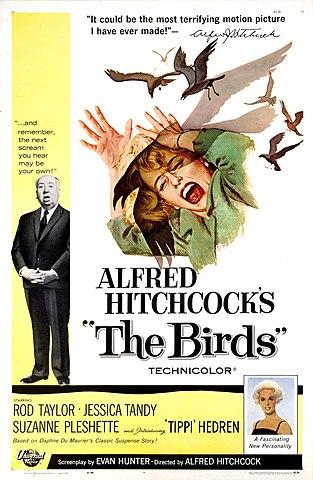 """""""Los pájaros"""" de Alfred Hitchcock."""