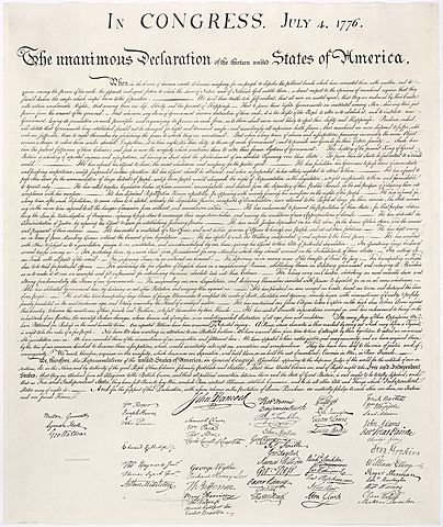 Declaración de Independencia de los Estados Unidos.