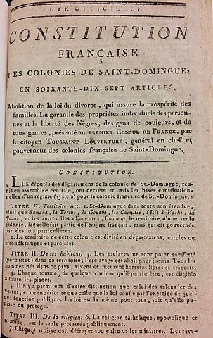 Toussaint creates constitution