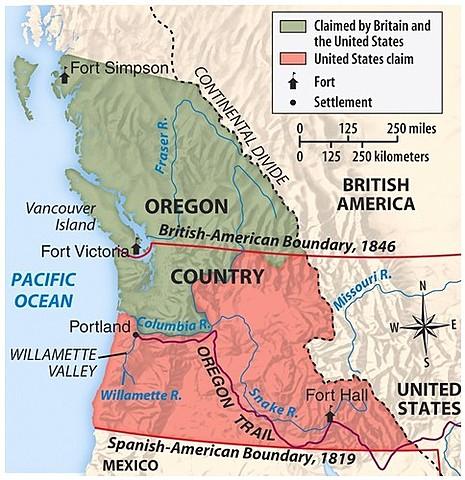 Oregon Territory Divided Between British and U.S.