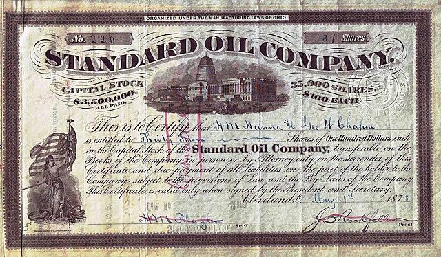 Rockefeller incorporates Standard Oil