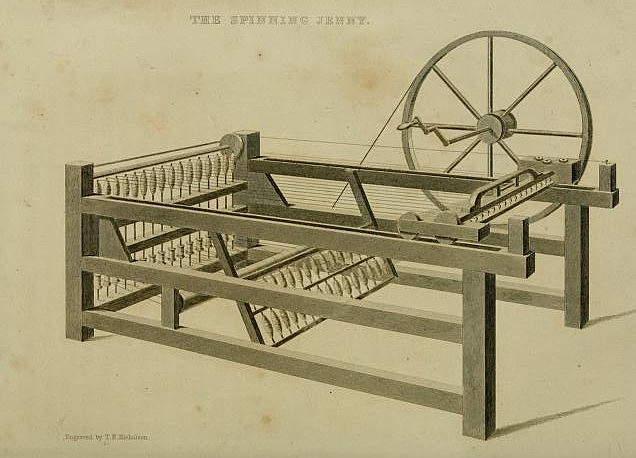 The patenting of the sixteen spindle spinning jenny