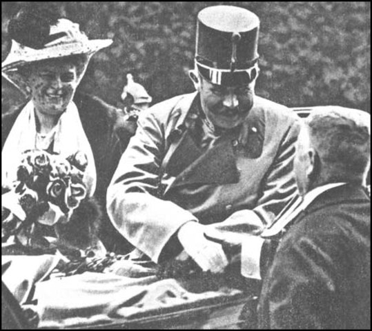 Archduke Franz Ferdinand  and his wife Sophie are assassinated