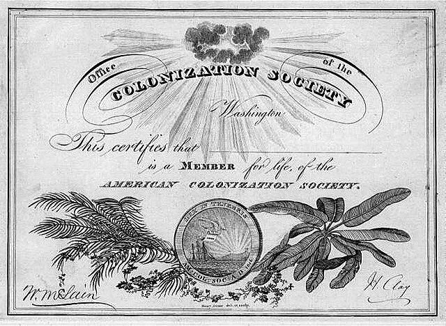 American Colonization Society is founded.