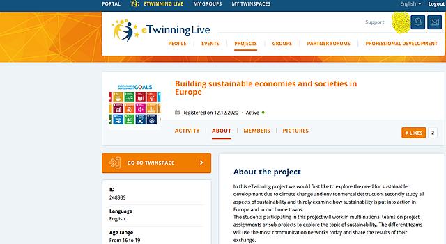 Συμμετοχή σε Ευρωπαϊκό Πρόγραμμα Περιβαλλοντικής Εκπαίδευσης μέσω Σχεδίου eTwinning