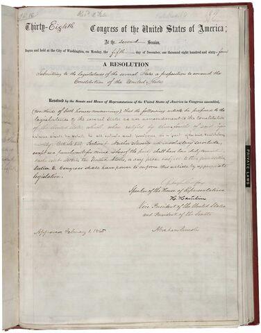 13º Enmienda a la Constitución de los Estados Unidos.