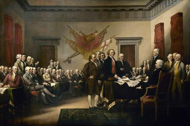 """""""Declaración de Independencia"""" por John Trumbull."""