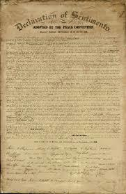 At the Seneca Falls Convention, women issue the Declaration of Sentiments.