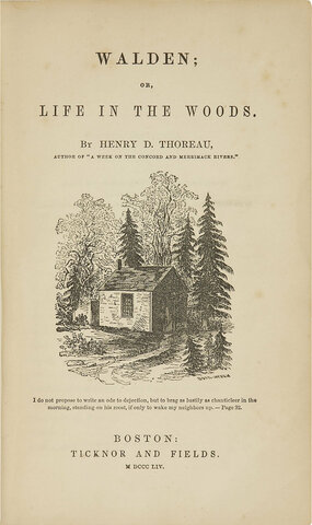 Henry David Thoreau's Walden, or Life in the Woods is published.