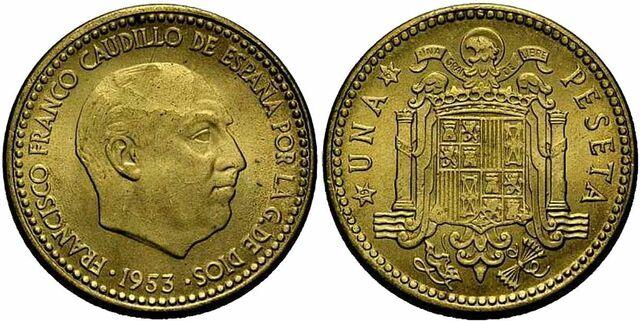 La peseta moneda única de España.