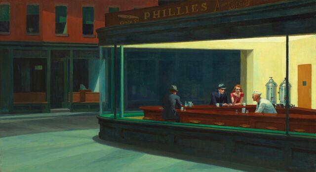 """""""Nighthawks"""". (Halcones de la Noche) de Edward Hopper. I. Arte de Chicago."""