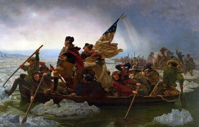 """""""Washington cruzando el Delaware"""" de Emanuel Gottlieb Leutze. M. Metropolitano de Arte de New York."""