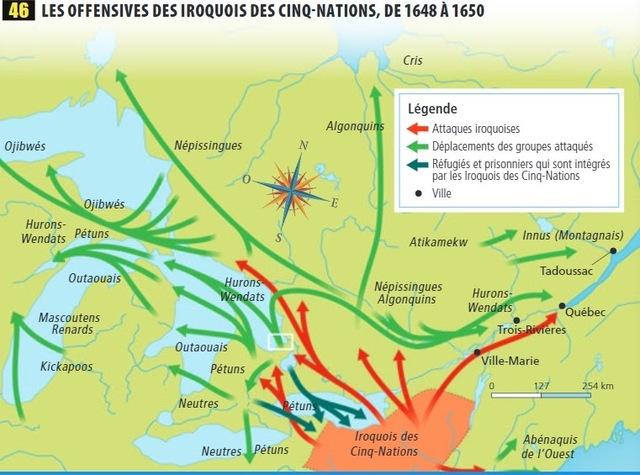 Les guerres iroquoises et la destruction de la Huronie qui a lieu en 1650