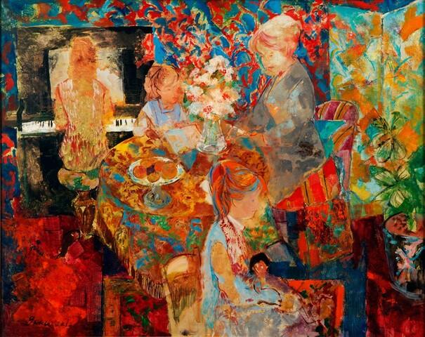 Interior con figuras
