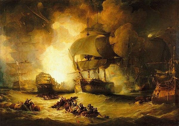 """""""La destrucción del L'Orient en la batalla del Nilo"""" de GEORGE ARNALD"""