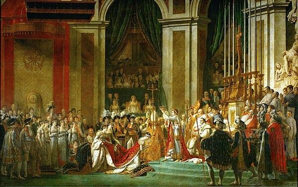 """""""La coronación de Napoleón"""" de Jacques-Louis David."""