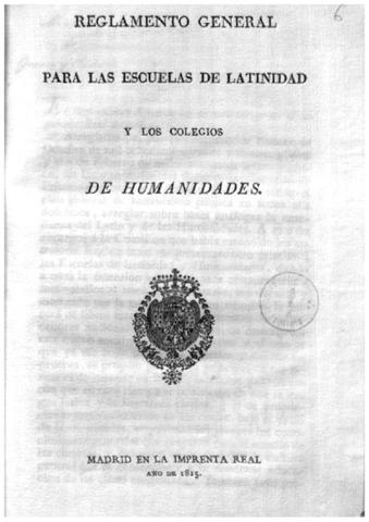Reglamento General de Escuelas de Latinidad y Colegios de Humanidades