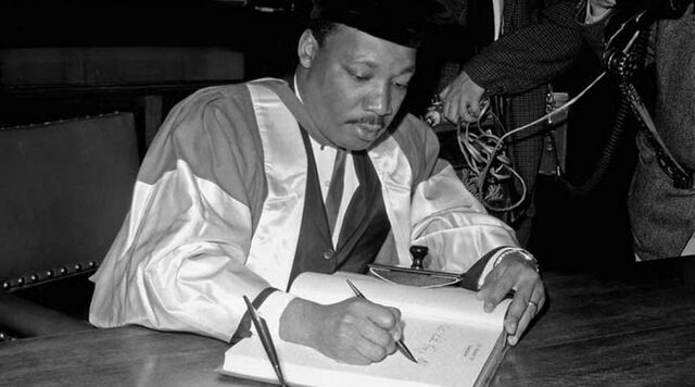 MLK receives a degree at Morehouse College