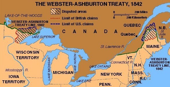 Americans and British agree to the Webster-Ashburton Treaty.
