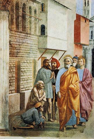 Masaccio, San Pietro risana gli infermi con la propria ombra