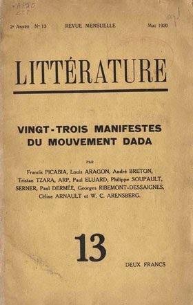 """Revista: """"Littérature"""" por André Breton."""