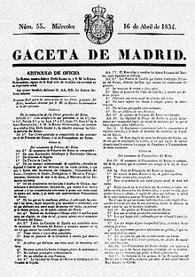 Promulgación del Estatuto Real de 1834