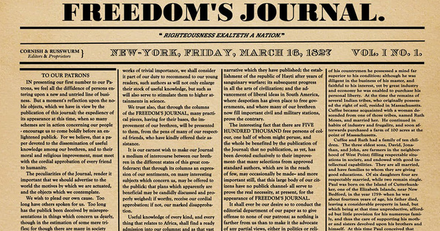 """""""Freedom's Journal"""" first published in New York"""