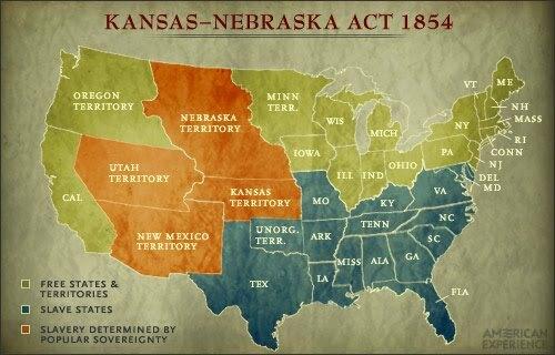 Congress passes the Kansas-Nebraska Act.