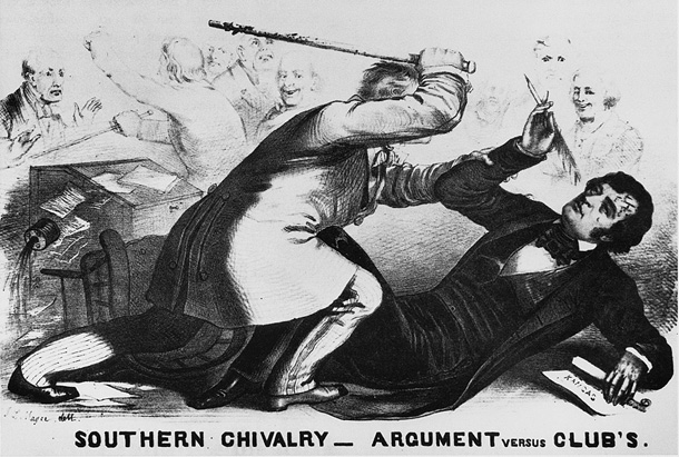 Charles Sumner of Massachusetts is caned and seriously injured by a pro-slavery congressman in the U.S. Senate.