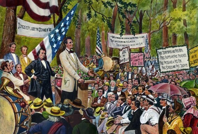 Abraham Lincoln debates Stephen A. Douglas during the 1858 Illinois Senate race.