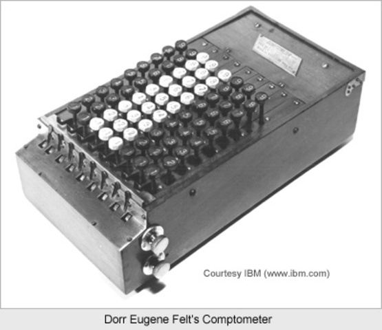 The Comptometer is an invention of Dorr E. Felt which is operated by pressing keys