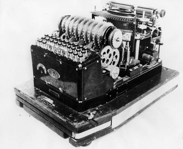 Adolf Hitler uses the Enigma encryption machine