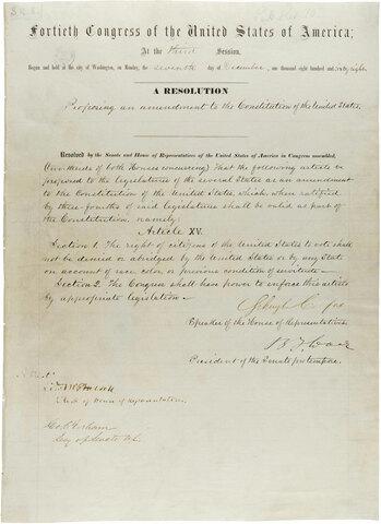 15th Amendment adopted
