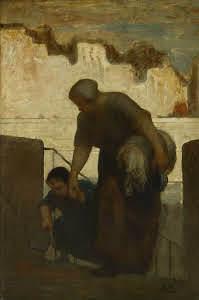 The Laundress Pintura de Honoré Daumier