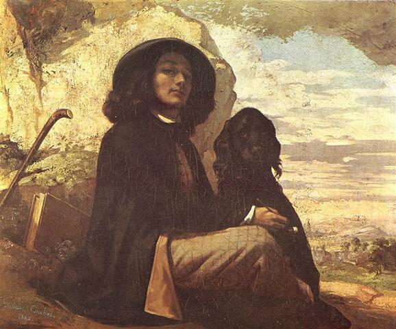 Autorretrat amb un gos negra