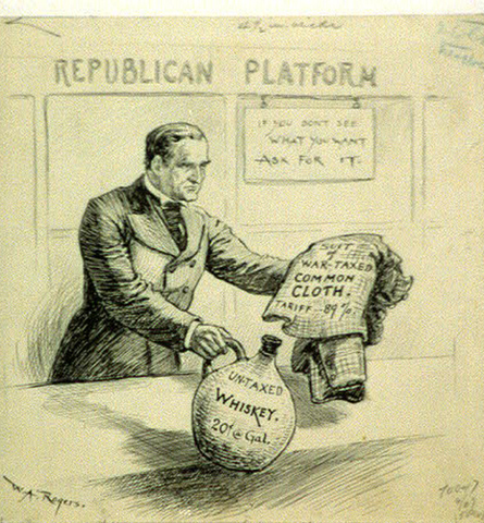 President William McKinley sets a tax on all foreign goods