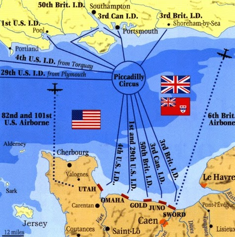 Gli alleati sbarcarono sui cinque spiagge in Normandia.
