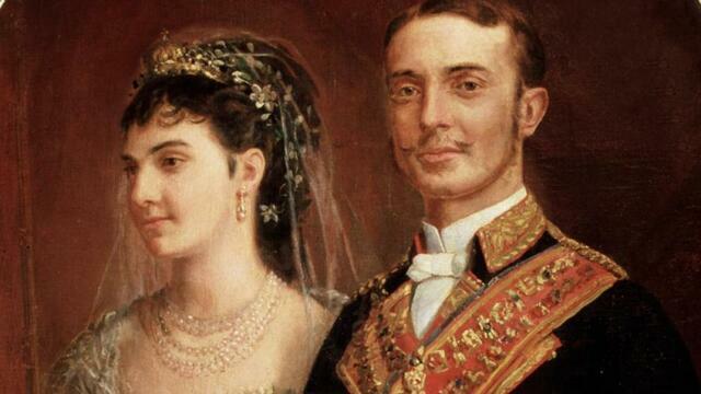Alfonso XII se casa con María de las Mercedes de Orleans, que fallece meses más tarde. (enero)