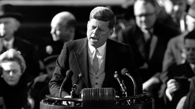 """Kennedy Challenges Soviet Union to """"Peace Race"""""""