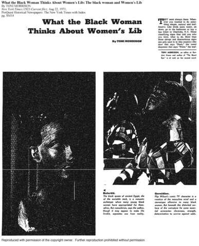 Toni Morrison's Article: What the Black Woman Thinks about Women's Lib