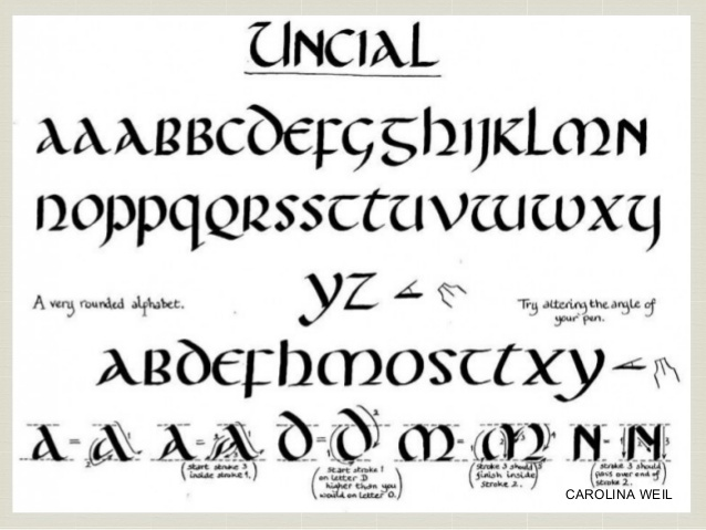 Las unciales y el semi-uncial