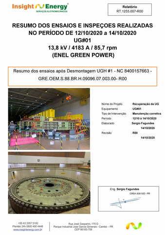 RT.1255.s/n - Resumo dos ensaios após desmontagem UGH#1 - NC 8400157663