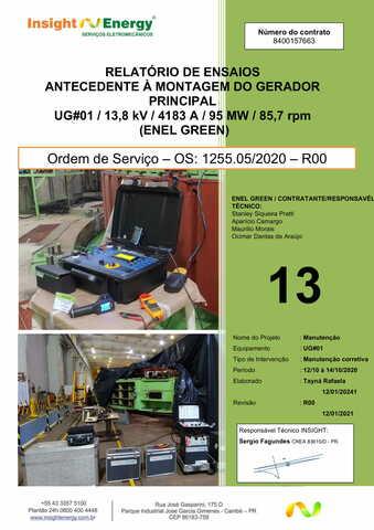 RT.1255.013-R00- Ensaios elétricos antecedentes à montagem do UG01