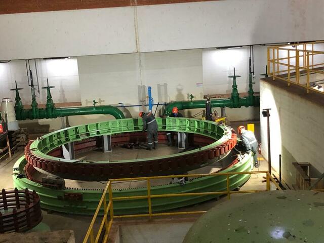 Pintura do rotor e estator auxiliar